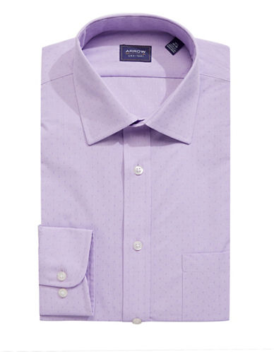 Arrow Wrinkle-Free Dot Dress Shirt-PURPLE-15.5-32/33