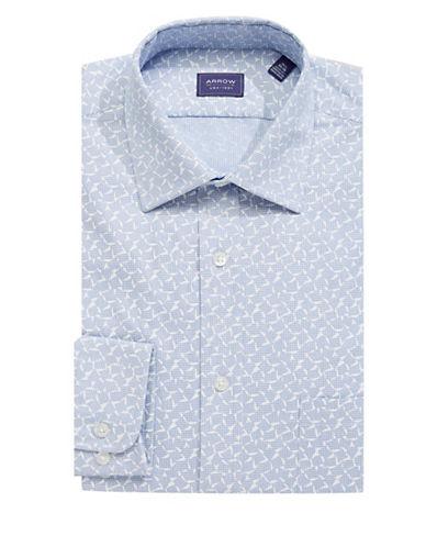 Arrow Printed Dress Shirt-BLUE-15.5-32/33