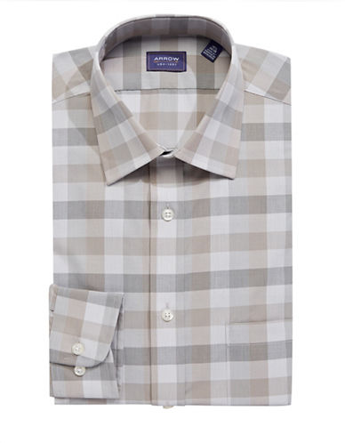Arrow Wrinkle-Free Check Dress Shirt-GREY-15.5-32/33