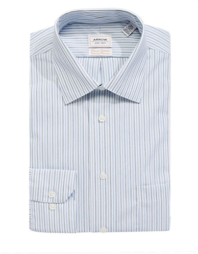 Arrow Cotton Striped Dress Shirt-BLUE-16.5-32/33