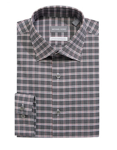 Michael Michael Kors Cotton-Blend Plaid Dress Shirt-GREY-16-34/35