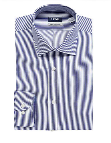 Izod Wrinkle-Free Striped Dress Shirt-BLUE-17-34/35