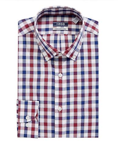 Izod Wrinkle-Free Plaid Dress Shirt-RED-17-34/35