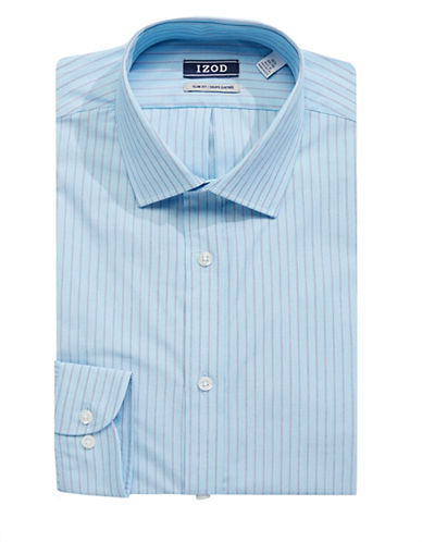 Izod Slim-Fit Striped Dress Shirt-BLUE-17-34/35
