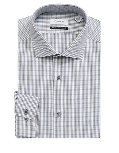 Calvin Klein Classic Plaid Dress Shirt-GREY-17.5-32/33