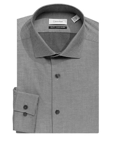 Calvin Klein Cotton Classic Dress Shirt-GREY-17.5-34/35
