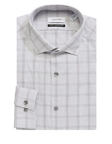Calvin Klein Cotton Plaid Dress Shirt-GREY-16-34/35