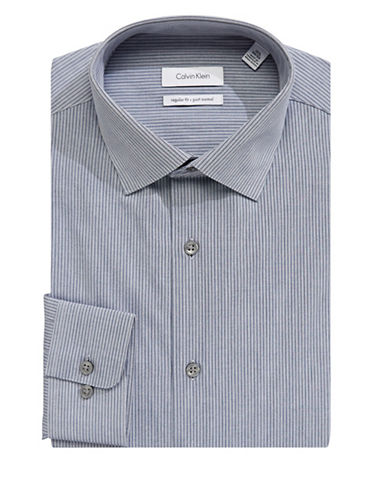 Calvin Klein Striped Pattern Dress Shirt-GREY-17-32/33