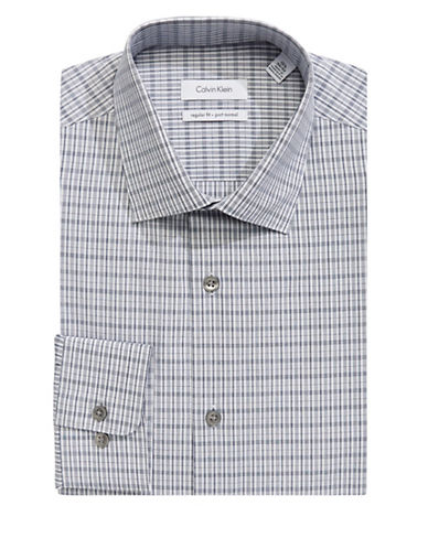 Calvin Klein Patterned Pure Cotton Dress Shirt-GREY-17-32/33