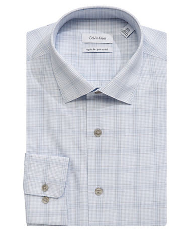 Calvin Klein Classic Print Cotton Dress Shirt-GREY-17-32/33