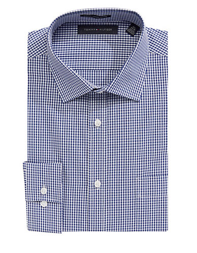 Tommy Hilfiger Oxford Gingham Dress Shirt-NAVY-14-32/33