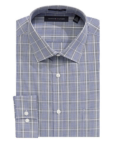 Tommy Hilfiger Plaid Cotton Dress Shirt-BLUE-16-32/33