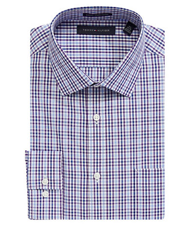 Tommy Hilfiger Classic Cotton Print Dress Shirt-PURPLE-15-32/33