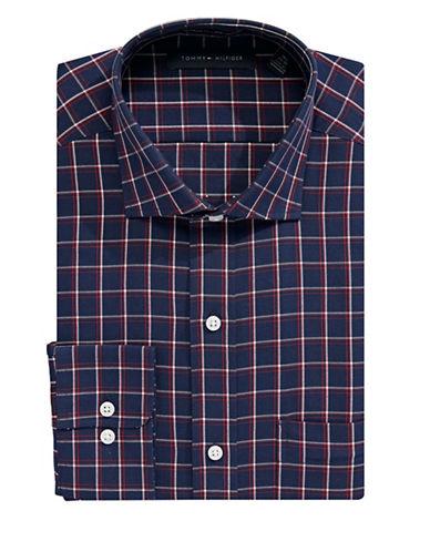 Tommy Hilfiger Classic Plaid Print Dress Shirt-NIGHT BLUE-14.5-32/33