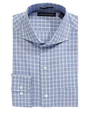 Tommy Hilfiger Classic Twill Plaid Dress Shirt-BLUE-16.5-34/35