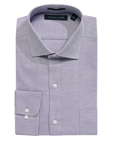 Tommy Hilfiger Cotton Printed Dress Shirt-LIGHT PURPLE-16.5-34/35