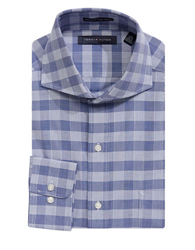 Tommy Hilfiger Multi-Checkered Dress Shirt-BLUE-16-34/35