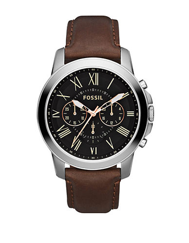 Fossil Grant Leather Watch  Brown-BROWN-One Size