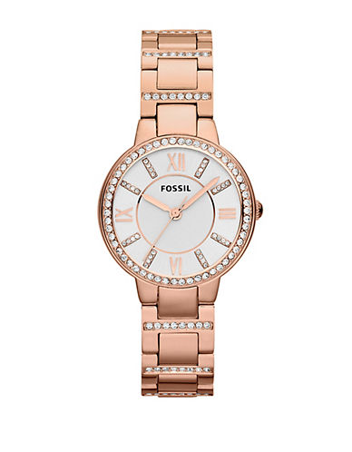 Fossil Virginia Rose Gold Tone Stainless Steel Watch-ROSE GOLD-One Size