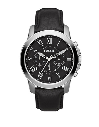 Fossil Mens Grant Leather Black Watch FS4812-BLACK-One Size