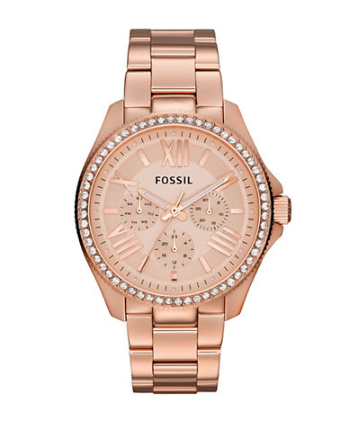 Fossil Womens Cecile Multifunction Stainless Steel Rose Watch-ROSE GOLD-One Size