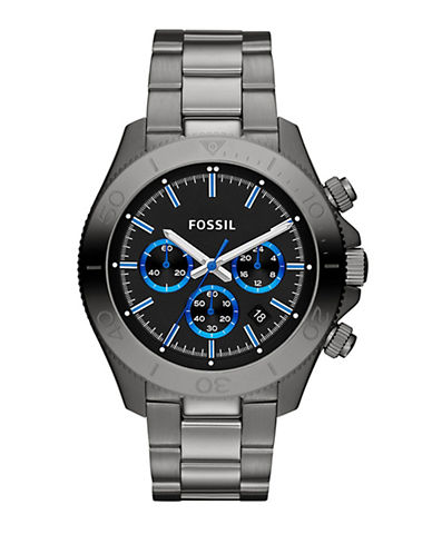 Fossil Retro Traveler Stainless Steel Men's Watch - Smoke-GREY-One Size