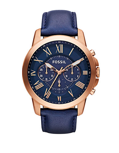 Fossil Grant Chronograph Leather Watch-BLUE-One Size
