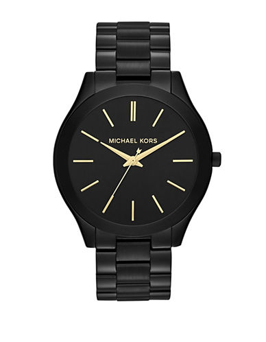 Michael Kors Mid Size Black Tone Stainless Steel Slim Runway Three Hand Watch-BLACK-One Size