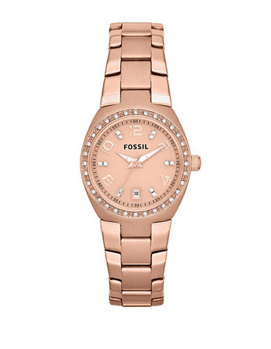 Fossil Womens Rose Gold Tone Stainless Steel Bracelet-ROSE GOLD-One Size