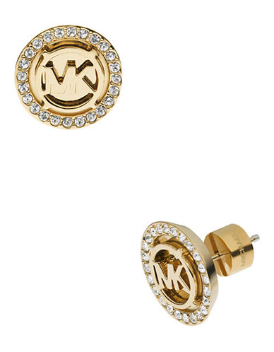 Michael Kors Gold Tone Mk  Stud Earring With Clear Pave-GOLD-One Size
