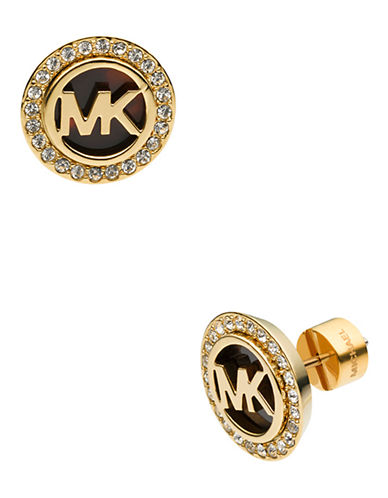 Michael Kors Gold Tone Mk  Stud Earring With Clear Pave-BROWN-One Size