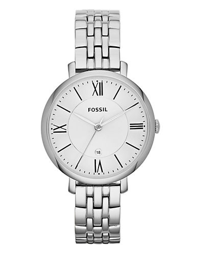 Fossil Jacqueline Three Hand Stainless Steel Watch-SILVER-One Size