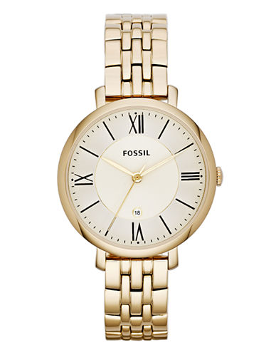 Fossil Jacqueline Three Hand Stainless Steel Watch Gold Tone-GOLD-One Size