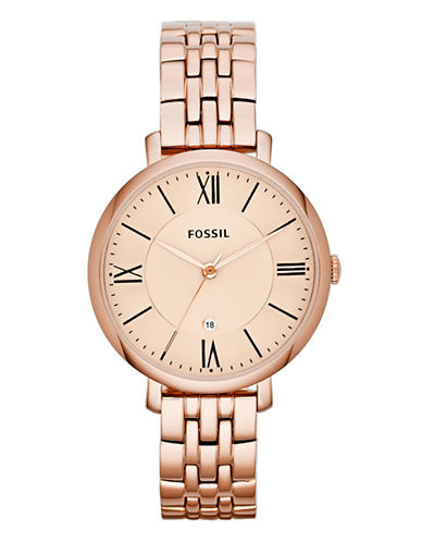 Fossil Jacqueline Three Hand Stainless Steel Watch Rose-ROSE GOLD-One Size