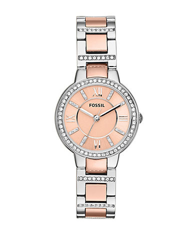 Fossil Virginia Three Hand Stainless Steel Watch Two Tone-ROSE GOLD-One Size