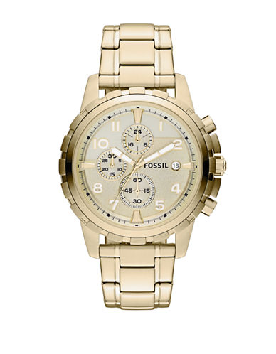Fossil Dean Chronograph Stainless Steel Watch-GOLD-One Size