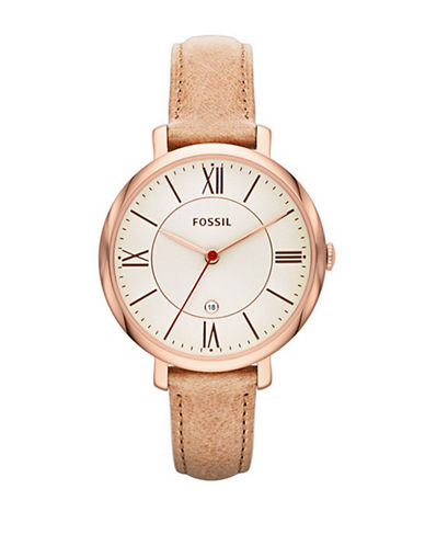 Fossil Womens Analog Jacqueline ES3487 Watch-BEIGE-One Size