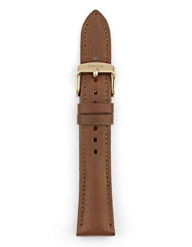 Fossil Brown Leather Watch Strap-BROWN-One Size