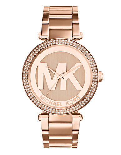 Michael Kors Michael Kors Rose Gold Tone Parker Watch with Logo Dial-ROSE GOLD-One Size