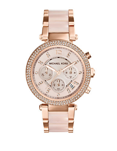 Michael Kors Ladies Parker Rose Gold Tone Chronograph Glitz Watch-ROSE GOLD-One Size