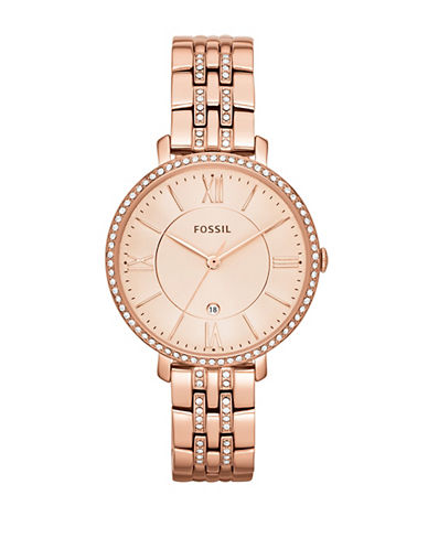 Fossil Jacqueline Three Hand Date Stainless Steel Watch Rose Gold Tone-PINK-One Size