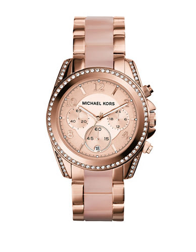 Michael Kors Rose Gold Tone Blair Watch with Blush Acetate-ROSE GOLD-One Size