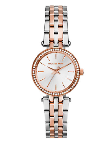 Michael Kors Petite size Rose Gold Tone and Silver Tone Stainless Steel Darci Three Hand Glitz Watch-MULTI-One Size