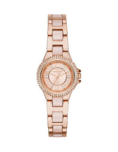 Michael Kors Rose Gold Tone Petite Camille Watch with Blush Acetate Center Links  MK4292-ROSE GOLD-One Size