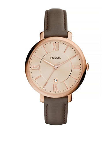 Fossil Jacqueline Rose Goldtone Stainless Steel Leather Strap Watch-BROWN-One Size
