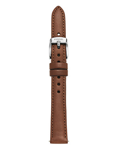 Fossil Brown Slim Leather Watch Strap-BROWN-One Size