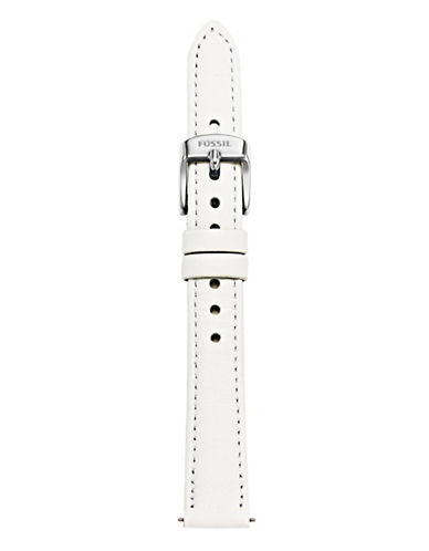 Fossil White Slim Leather Watch Strap-WHITE-One Size