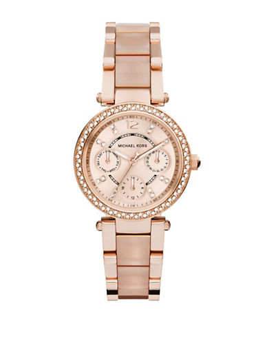 Michael Kors Rose Gold Tone and Blush Mini Parker Watch MK6110-ROSE GOLD-One Size