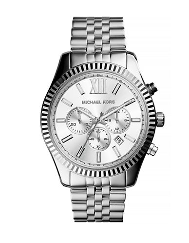 Michael Kors Mens Chronograph Stainless Steel Lexington Watch-SILVER-One Size