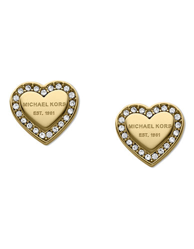 Michael Kors Gold Tone With Clear Pave Mk Logo Heart Post Earring-GOLD-One Size